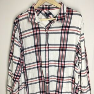 Gap Flannel Plaid White Button Down Blouse Top